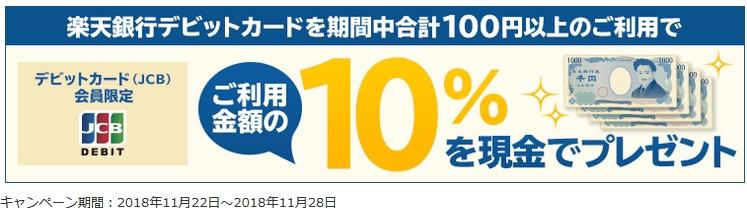 楽天銀行デビットカードのキャンペーン