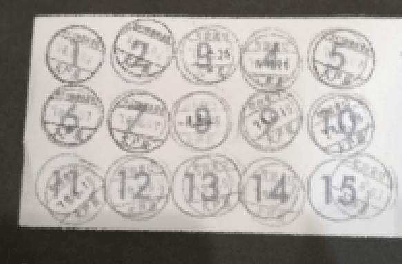 ポイントカードのスタンプ数が15個