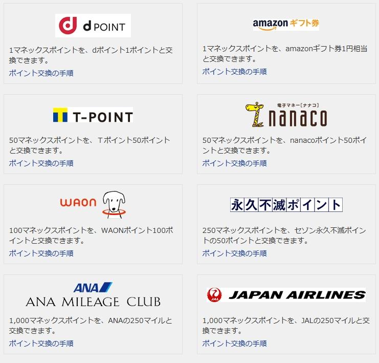 マネックスポイントを交換できる他のポイントサービス一覧