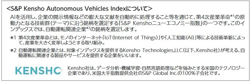 S&P Kensho Autonomous Vehicles Indexの説明文
