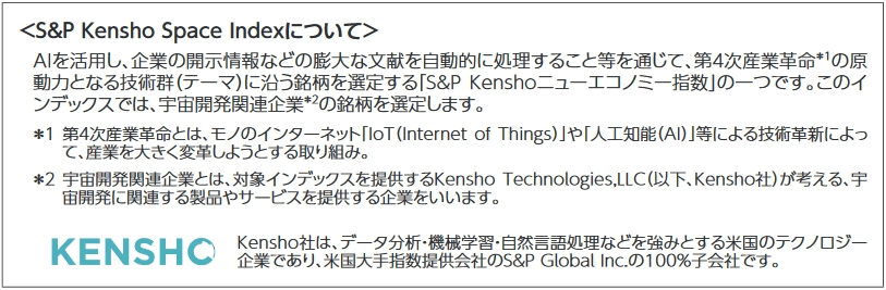 S&P Kensho Space Indexの説明文