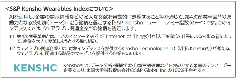 S&P Kensho Wearables Indexの説明文